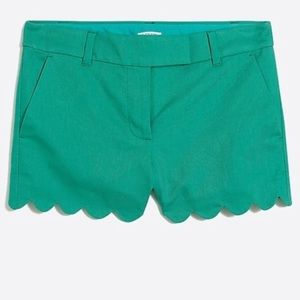 "J.Crew Linen scalloped 4"" shorts bright patina 2"